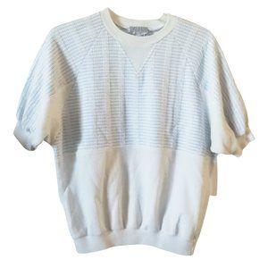 Vintage style up blue white knit top L / XL